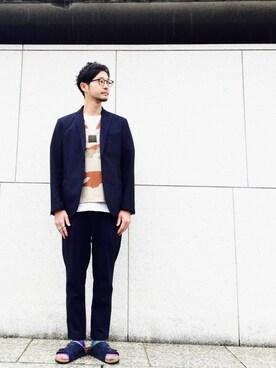 "BEAUTY&YOUTH UNITED ARROWS Shirou Takemotoさんのテーラードジャケット「BY ""TORAY"" ドライ シアサッカー 2B ジャケット(BEAUTY&YOUTH UNITED ARROWS ビューティアンドユースユナイテッドアローズ)」を使ったコーディネート"