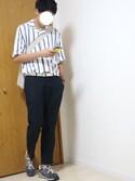 しんしんさんの「ストライプオープンカラーシャツ(5分袖)(SENSE OF PLACE by URBAN RESEARCH|ユニクロ)」を使ったコーディネート