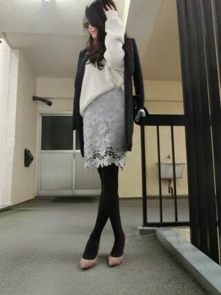 yoshimiさんの「ディープVレイヤードニット(DRWCYS|ドロシーズ)」を使ったコーディネート