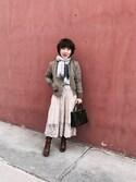 miyukisongさんの「WOMEN エクストラファインメリノクルーネックカーディガン(長袖)(ユニクロ|ユニクロ)」を使ったコーディネート