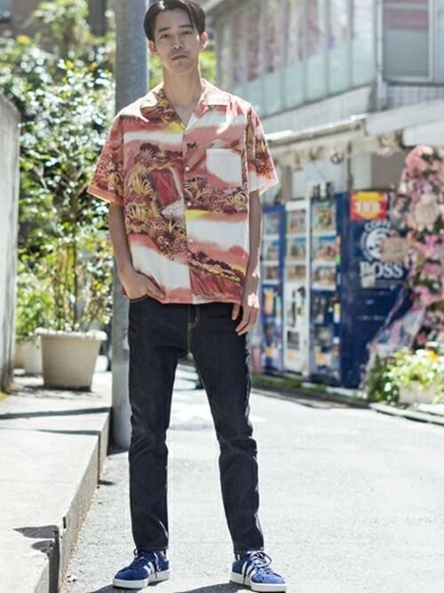 ROOPTOKYORooptokyoさんのシャツ/ブラウス「WHITE LINE/ホワイトライン WL FAT CAT Aloha Shirt(WHITE LINE ホワイトライン)」を使ったコーディネート