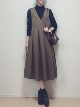MAYUKOさんのワンピース「KBF BIGプリーツジャンパースカート(KBF|ケイビーエフ)」を使ったコーディネート