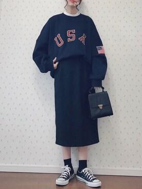 MAYUKOさんの「TRキモウカラータイトスカート 774715(LOWRYS FARM|ローリーズ ファーム)」を使ったコーディネート