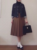 MAYUKOさんの「ポリエステルウール ランダムプリーツミディスカート(MACPHEE|マカフィー)」を使ったコーディネート