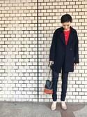 kaho haezukaさんの「【SOMETHING for ADAM ET ROPE'】別注CUT OFF SKINNY(ADAM ET ROPE'|アダム エ ロペ)」を使ったコーディネート