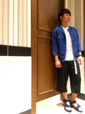 RAGEBLUE名古屋パルコ店|池田さんのスラックス「<吸水速乾>ガウチョパンツ/750295(RAGEBLUE|レイジブルー)」を使ったコーディネート