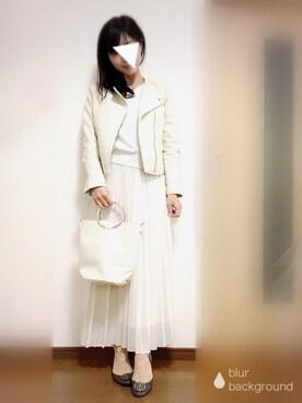 shifumiさんの「フェイクレザーショート丈ノーカラーライダース(mysty woman)」を使ったコーディネート