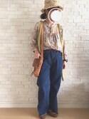 sasa86さんの「【mina 1月号掲載】裾フリンジデニムワイドパンツ(ANDJ アンドジェイ)」を使ったコーディネート