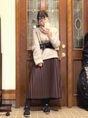 Aoiさんの「デザインケーブルニットプルオーバー(MURUA|ムルーア)」を使ったコーディネート