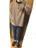 ゆうきさんの「MEN ヒートテックケーブルクルーネックセーター(長袖)(ユニクロ|ユニクロ)」を使ったコーディネート
