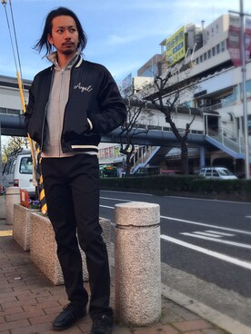 Schott Kobe|kawanishiさんのブルゾン「Schott/ショット/SATIN SKA JACKET ANGEL/サテン スカジャケット エンジェル(schott|ショット)」を使ったコーディネート