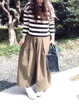 ☆kiraky☆さんの「WOMEN ボーダーモックネックT(9分袖)(ユニクロ|ユニクロ)」を使ったコーディネート