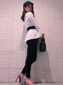 midoriさんの「ナロークロステープシャツ(MURUA|ムルーア)」を使ったコーディネート