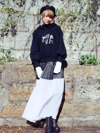 「CATCOPY/キャットコピー/LONG RIB HOODIE(CAT COPY)」 using this 南明奈 looks