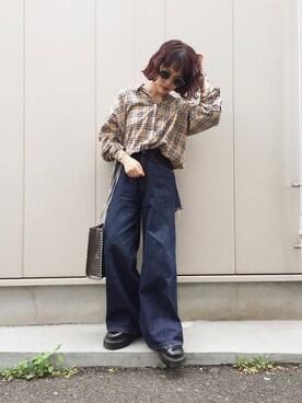 fumiさんの「BACKスラッシュワイドデニムパンツ(EVRIS)」を使ったコーディネート