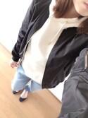 ♡halu♡さんの「クールなハリ感の艶ブルゾン(coca|コカ)」を使ったコーディネート