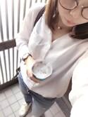 ♡halu♡さんの「【UVカット加工】メガネ(and it_|アンドイット)」を使ったコーディネート
