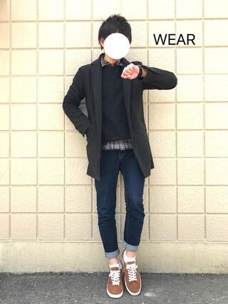ぷれじでんとさんの「◇TOPタータンチェックセミワイドシャツ(EDIFICE|エディフィス)」を使ったコーディネート