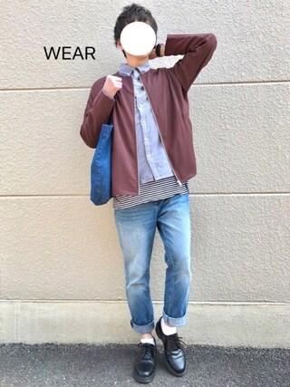 ぷれじでんとさんの「cotton100% オックスボタンダウンシャツ(MONO-MART|モノマート)」を使ったコーディネート