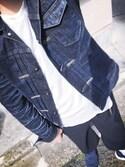 yukkiiさんの「Denim Jacket Heritage Wash 04(KURO|クロ)」を使ったコーディネート