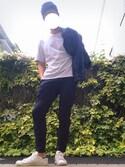 "kazu is wearing Levi's ""デニムジャケット リンス ワンウォッシュ/14.5oz"""