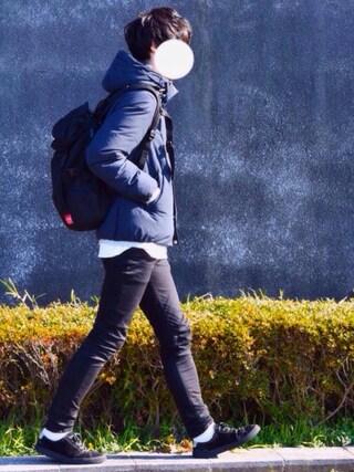 とっしーさんのダウンジャケット/コート「河田フェザーメモリーダウンブルゾン(UNITED TOKYO|ユナイテッドトウキョウ)」を使ったコーディネート