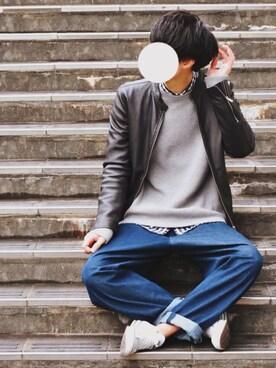 とっしーさんの「ラムレザーシングルライダース(UNITED TOKYO|ジーユー)」を使ったコーディネート
