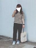 amaさんの「リップルボーダーTシャツ(coen コンバース)」を使ったコーディネート
