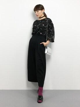 ZOZOTOWN|黒田デビーさんの「フラワー刺繍チュールブラウス(SPINNS)」を使ったコーディネート