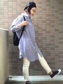 sally.ichiさんの「タックカフスシャツワンピース(ADAM ET ROPE'|アダム エ ロペ)」を使ったコーディネート