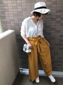 sally.ichiさんの「ギャザーウエストパンツ(MURUA|ムルーア)」を使ったコーディネート