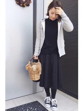 mayuさんの「WOMEN エクストラファインメリノハイネックセーター(長袖)(ユニクロ)」を使ったコーディネート