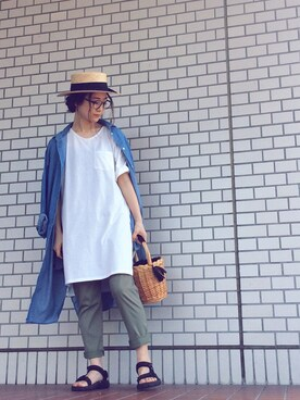 THE SHOP TK エミフルMASAKI|mi-n*さんの「メッシュベルトつきシャツワンピース(THE SHOP TK)」を使ったコーディネート