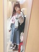 アヤネさんの「スカラップフリンジヘムデニムフレアスカート615-9527(merlot|メルロー)」を使ったコーディネート