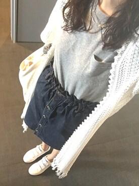 nonokaさんの「【ナイスクラップ】ハイウェストコクーンスカート(one after another NICE CLAUP)」を使ったコーディネート