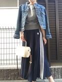 α_αさんの「オリジナルス スカート[3 STRIPES LONG SKIRT](adidas|アディダス)」を使ったコーディネート