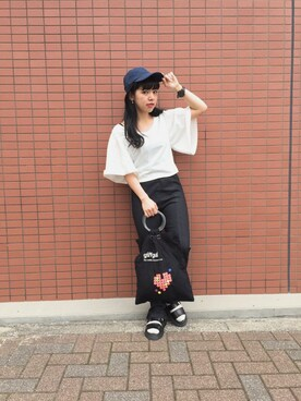 Kastane 千葉店|yukino satoさんの「袖ギャザーショートプルオーバー(Kastane|カスタネ)」を使ったコーディネート