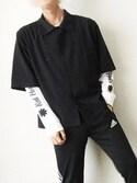"""うと is wearing HARE """"コーチシャツ5分袖(HARE)"""""""