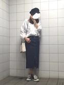 えりぼーさんの「フロントスリットデニムミディスカート(AZUL by moussy|アズールバイマウジー)」を使ったコーディネート