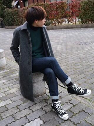 Ryoさんの「MOONラグランステンカラーコート(UNITED TOKYO|ユナイテッドトウキョウ)」を使ったコーディネート