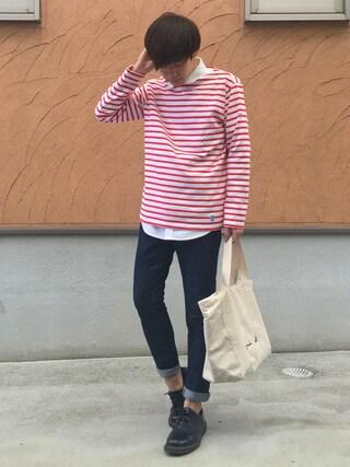 Ryoさんの「コットンロード フレンチバスクシャツ MEN(ORCIVAL|オーシバル)」を使ったコーディネート