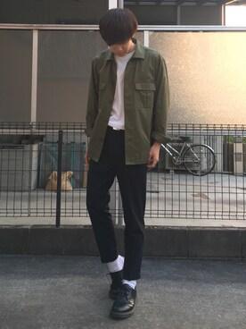 Ryoさんの「【WEB限定】STUDIOUS リラックスミリタリーシャツ(STUDIOUS|ステュディオス)」を使ったコーディネート