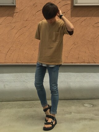 Ryoさんの「VELVA SHEEN ヴェルバ シーン 別注 ビックシルエット 半袖 ポケット Tシャツ(Velva Sheen|ベルバシーン)」を使ったコーディネート