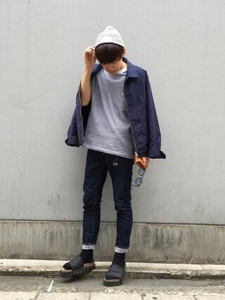 Ryoさんの「<DANTON(ダントン)> 1P LOGO BORDER T/Tシャツ(Danton|ダントン)」を使ったコーディネート