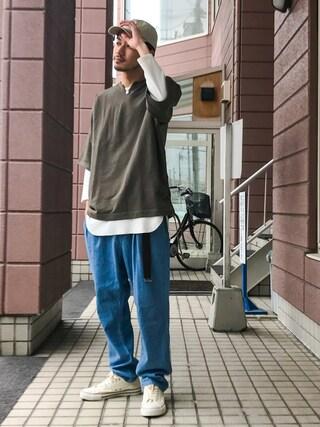 「スパンテレコ裾カーブ8分袖Tee(ZIP FIVE)」 using this ZIP FIVE|KON looks