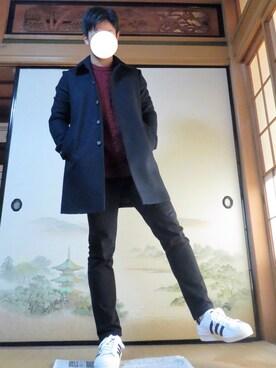 yoshi_11さんの「MEN ストレッチスキニーフィットテーパードカラージーンズ(ユニクロ|ユニクロ)」を使ったコーディネート