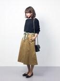 erikoさんの「ロープ柄スカーフ(E hyphen world gallery|イーハイフンワールドギャラリー)」を使ったコーディネート
