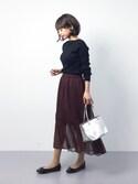 erikoさんの「フロントリボンエナメルフラットバレエシューズ(select MOCA|セレクトモカ)」を使ったコーディネート