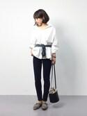 erikoさんの「バックオープンカラーシャツ(ADAM ET ROPE' アダム エ ロペ)」を使ったコーディネート