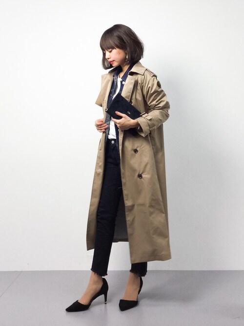 erikoさんの「さっと羽織ってかっこいいロングトレンチコート(haco!)」を使ったコーディネート